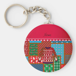 Custom name red snowman ugly christmas sweater basic round button keychain