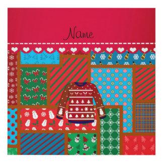 Custom name red snowman ugly christmas sweater panel wall art