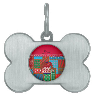 Custom name red snowman ugly christmas sweater pet tag