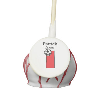 Custom Name Red Soccer First Birthday Cake Pops