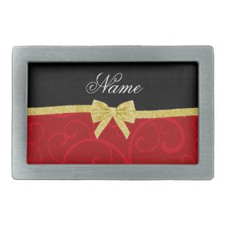 Custom name red swirls gold glitter bow belt buckle