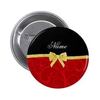 Custom name red swirls gold glitter bow pin