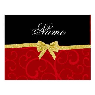 Custom name red swirls gold glitter bow postcards