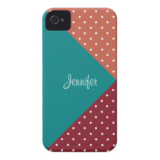 Custom Name Red Teal Rust Red PolkaDots ColorBlock iPhone 4 Case