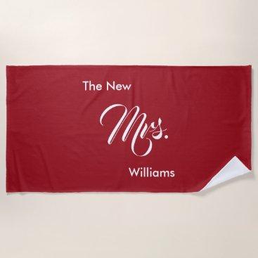 Custom Name Red The New Mrs. Wedding Beach Towel