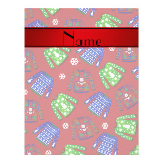 Custom name red ugly christmas sweater pattern flyer