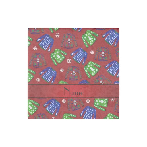 Custom name red ugly christmas sweater pattern stone magnet