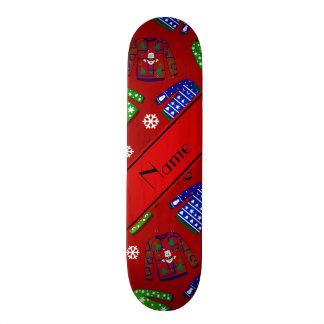 Custom name red ugly christmas sweater pattern skate board decks