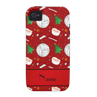 Custom name red volleyball christmas pattern vibe iPhone 4 covers