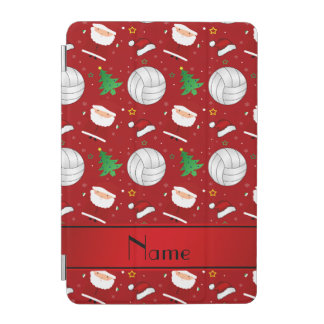 Custom name red volleyball christmas pattern iPad mini cover