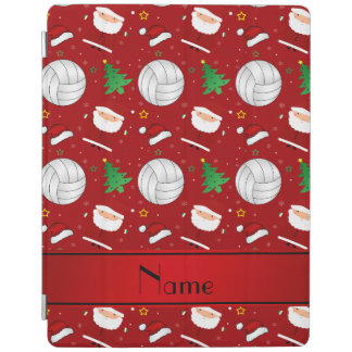 Custom name red volleyball christmas pattern iPad cover