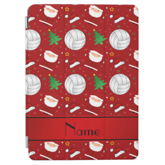 Custom name red volleyball christmas pattern iPad air cover