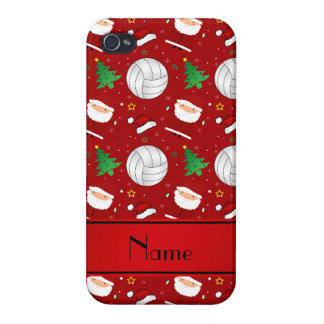 Custom name red volleyball christmas pattern cover for iPhone 4