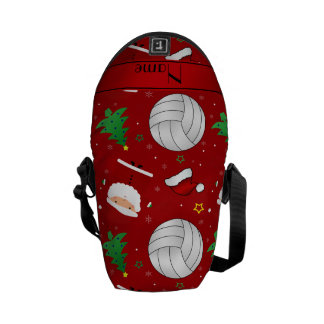 Custom name red volleyball christmas pattern messenger bag