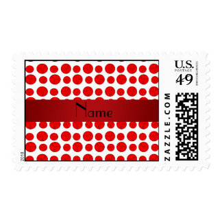 Custom name red volleyball pattern postage stamps