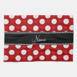 Custom name red volleyballs and hearts kitchen towels