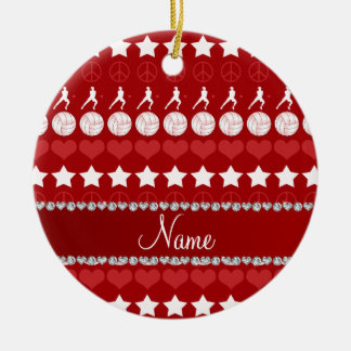 Custom name red volleyballs stars hearts peace ceramic ornament
