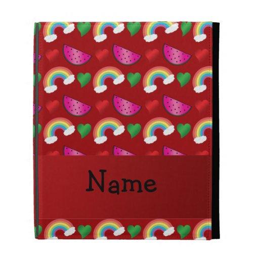 Custom name red watermelons rainbows hearts iPad case
