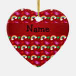Custom name red watermelons rainbows hearts christmas tree ornament