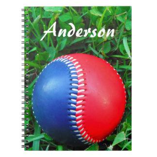 custom Name Red White & Blue Baseball Notebook