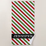 [ Thumbnail: Custom Name + Red, White & Green Striped Pattern Beach Towel ]