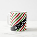 [ Thumbnail: Custom Name + Red, White & Green Striped Pattern Coffee Mug ]