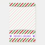 [ Thumbnail: Custom Name; Red, White & Green Striped Pattern Notes ]