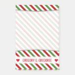 [ Thumbnail: Custom Name; Red, White & Green Striped Pattern Notes ]