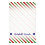 [ Thumbnail: Custom Name; Red, White & Green Striped Pattern Stationery ]