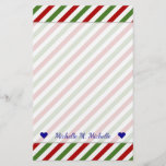 [ Thumbnail: Custom Name + Red, White & Green Striped Pattern Stationery ]