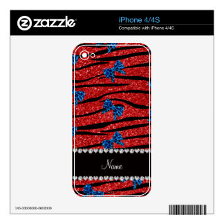 Custom name red zebra stripes blue bows skins for the iPhone 4S