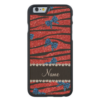 Custom name red zebra stripes blue bows carved® maple iPhone 6 case