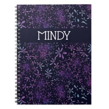 Bride Themed Custom Name Retro Purple Daisies Flower Notebook