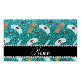 Custom name robin blue glitter nurse hats heart business card templates