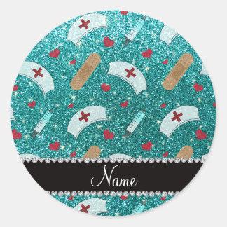 Custom name robin blue glitter nurse hats heart classic round sticker