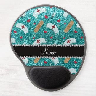 Custom name robin blue glitter nurse hats heart gel mouse pad