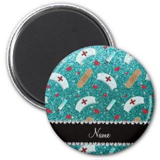Custom name robin blue glitter nurse hats heart magnet