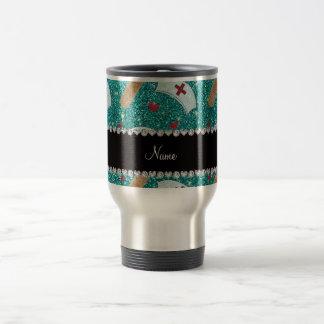 Custom name robin blue glitter nurse hats heart 15 oz stainless steel travel mug