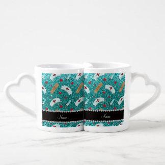 Custom name robin blue glitter nurse hats heart couples' coffee mug set