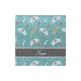 Custom name robin blue glitter nurse hats heart stone magnet