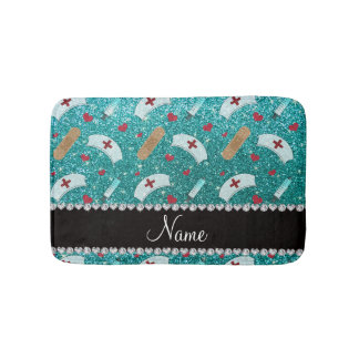 Custom name robin blue glitter nurse hats heart bath mats