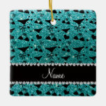 Custom name robin egg blue glitter bikini bows square ornament