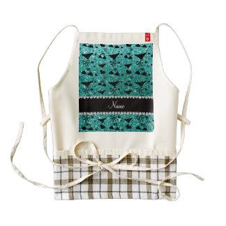Custom name robin egg blue glitter bikini bows zazzle HEART apron