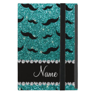 Custom name robin egg blue glitter black mustaches iPad mini cases
