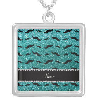 Custom name robin egg blue glitter black mustaches personalized necklace