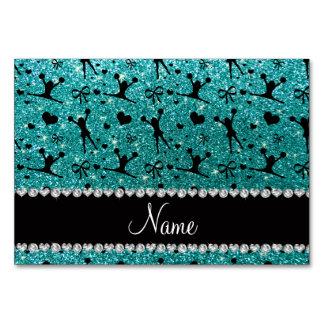 Custom name robin egg blue glitter cheerleading card