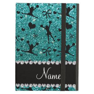 Custom name robin egg blue glitter cheerleading iPad air cover