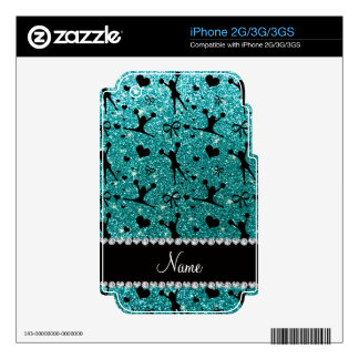 Custom name robin egg blue glitter cheerleading decal for the iPhone 3GS