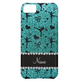 Custom name robin egg blue glitter figure skating iPhone 5C case