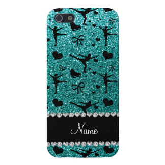 Custom name robin egg blue glitter figure skating iPhone SE/5/5s case